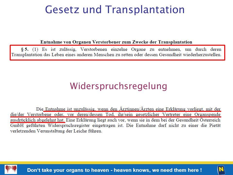 Gesetz und Transplantation