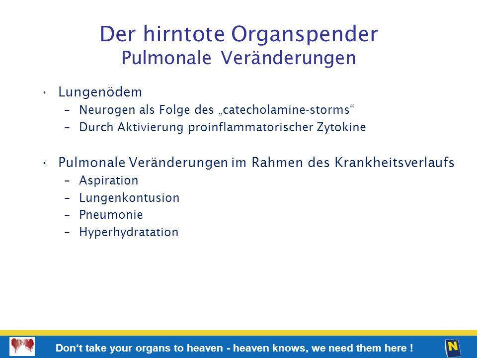 Der hirntote Organspender Pulmonale Veränderungen