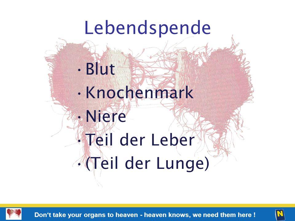 Lebendspende Blut Knochenmark Niere Teil der Leber (Teil der Lunge)
