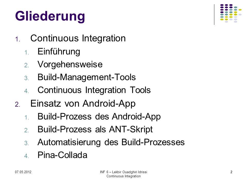 Gliederung Continuous Integration Einsatz von Android-App Einführung