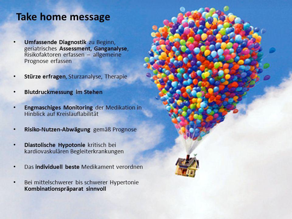 Take home message Umfassende Diagnostik zu Beginn, geriatrisches Assessment, Ganganalyse, Risikofaktoren erfassen – allgemeine Prognose erfassen.