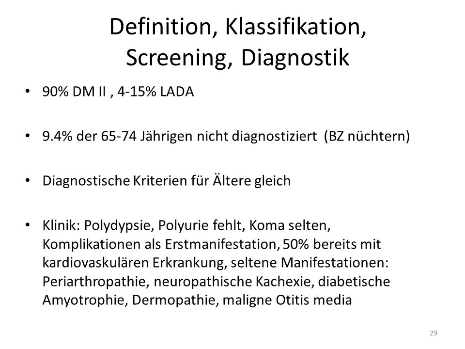 Definition, Klassifikation, Screening, Diagnostik