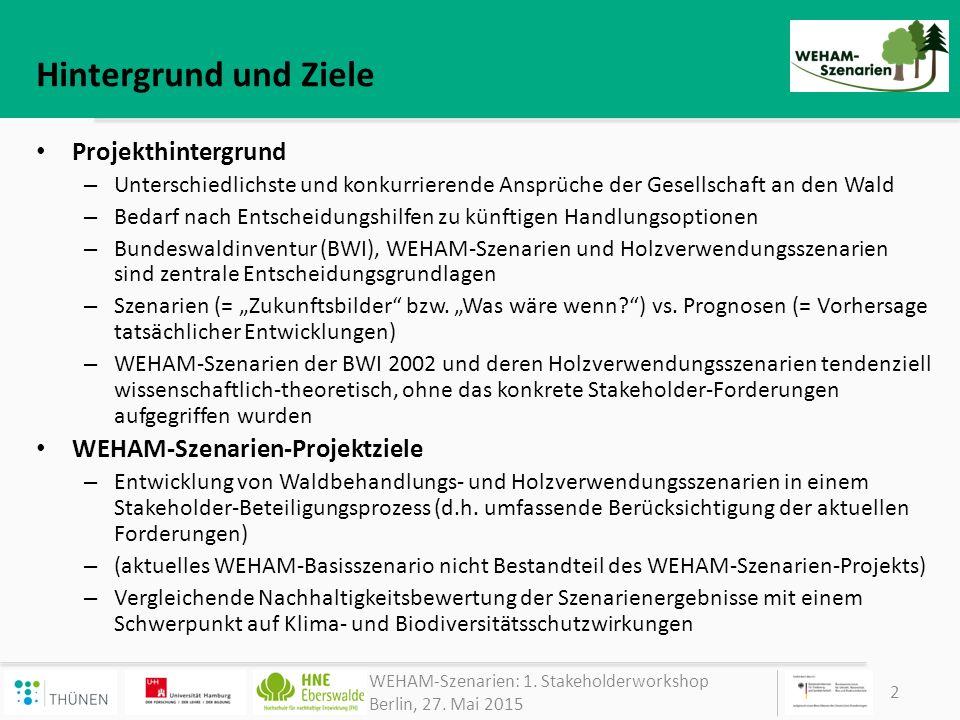 Hintergrund und Ziele Projekthintergrund WEHAM-Szenarien-Projektziele