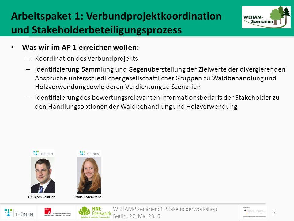 Arbeitspaket 1: Verbundprojektkoordination und Stakeholderbeteiligungsprozess