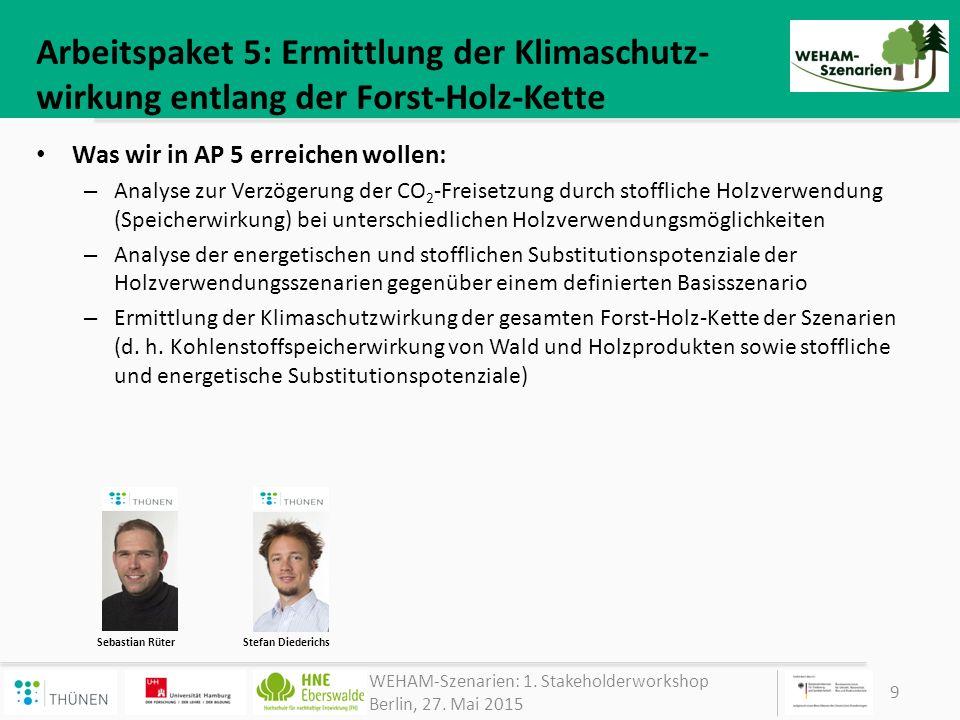 Arbeitspaket 5: Ermittlung der Klimaschutz-wirkung entlang der Forst-Holz-Kette