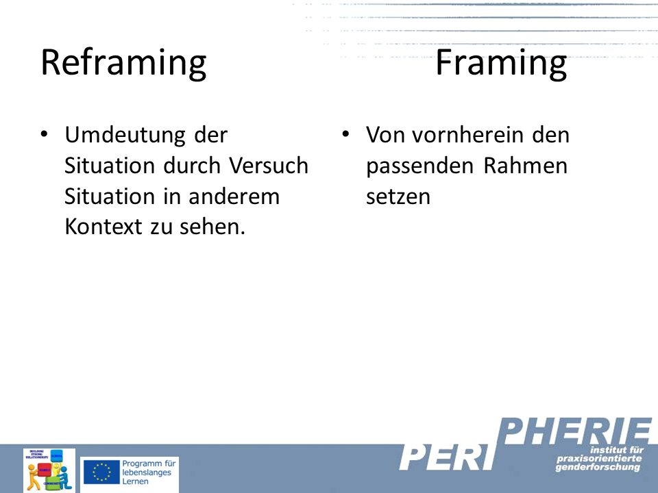 Reframing Framing Umdeutung der Situation durch Versuch Situation in anderem Kontext zu sehen. Von vornherein den passenden Rahmen setzen.