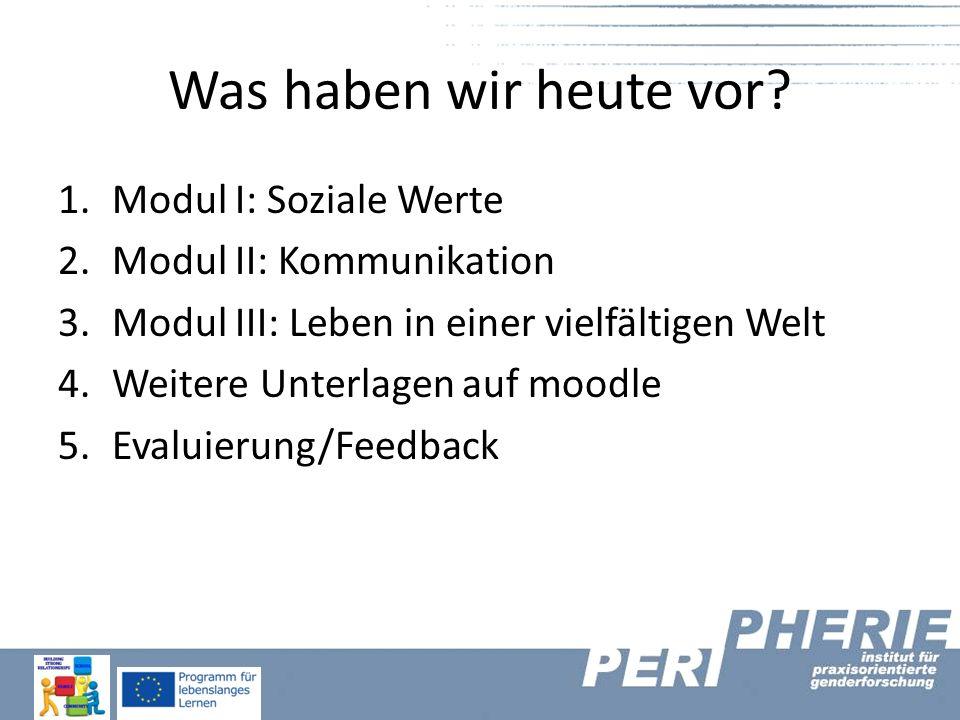Was haben wir heute vor Modul I: Soziale Werte