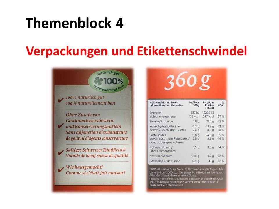 Verpackungen und Etikettenschwindel