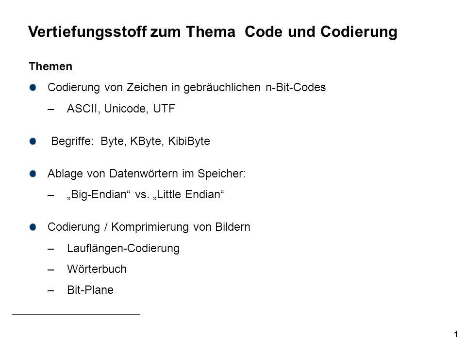 Vertiefungsstoff zum Thema Code und Codierung