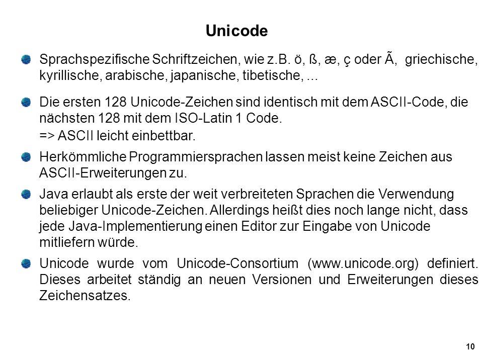 Unicode Sprachspezifische Schriftzeichen, wie z.B. ö, ß, æ, ç oder Ã, griechische, kyrillische, arabische, japanische, tibetische, ...