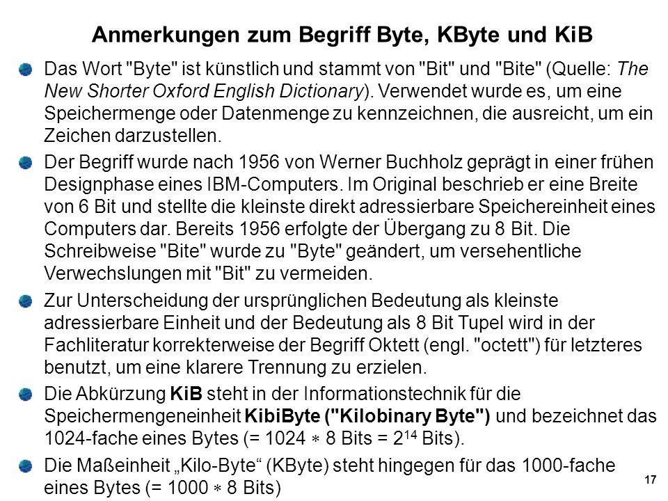 Anmerkungen zum Begriff Byte, KByte und KiB