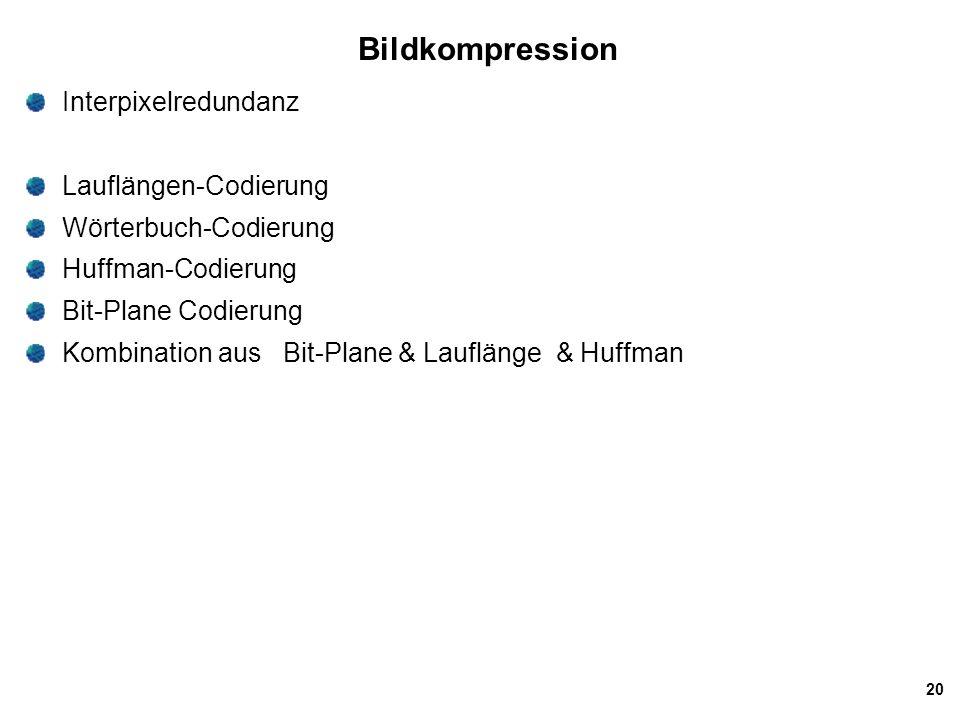 Bildkompression Interpixelredundanz Lauflängen-Codierung