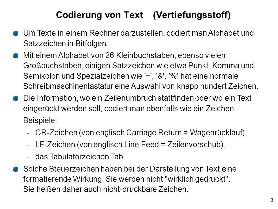 Codierung von Text (Vertiefungsstoff)