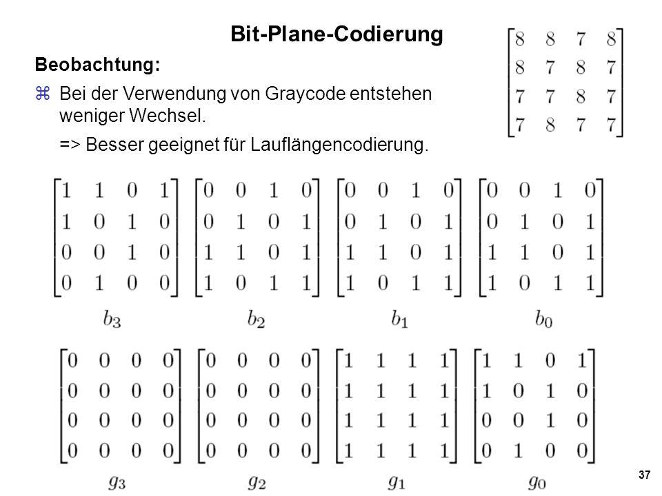Bit-Plane-Codierung Beobachtung: