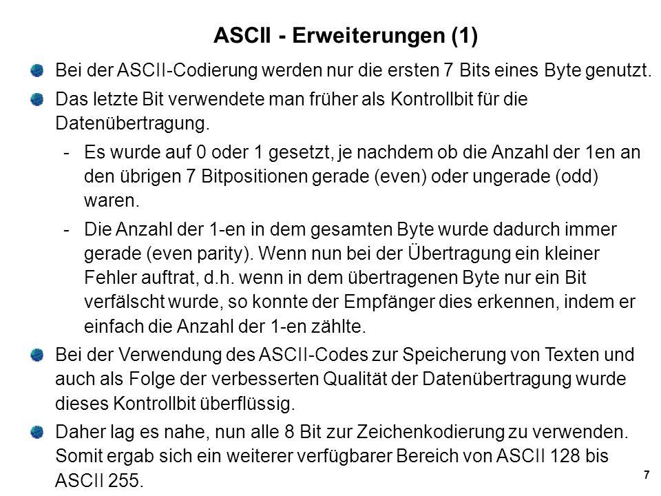 ASCII - Erweiterungen (1)