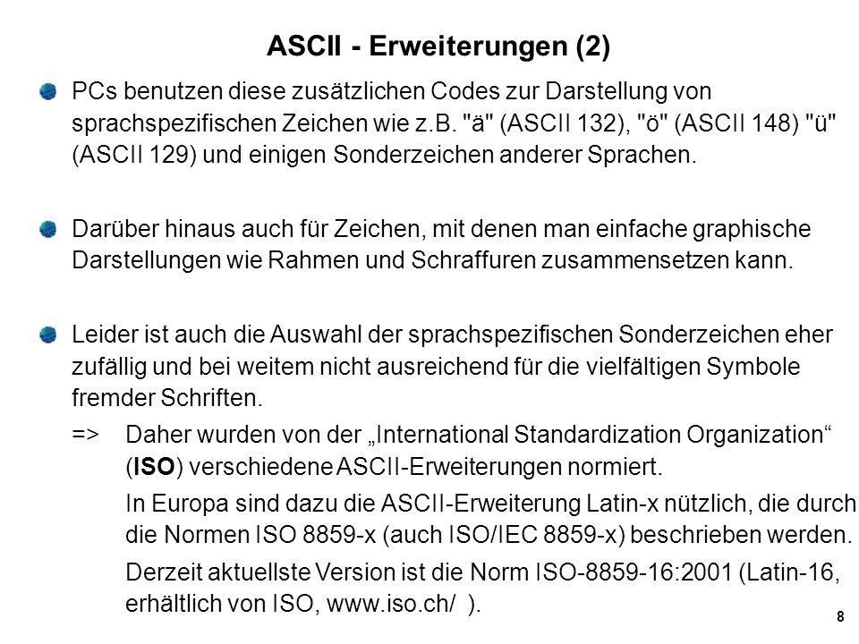 ASCII - Erweiterungen (2)
