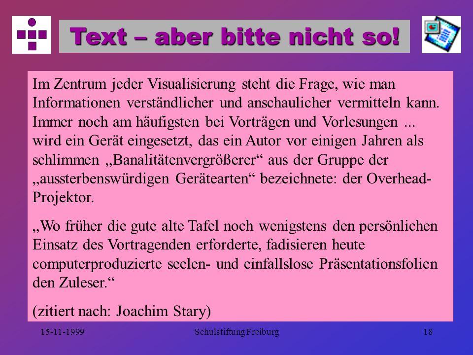 Text – aber bitte nicht so!