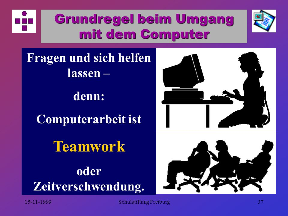 Teamwork Grundregel beim Umgang mit dem Computer