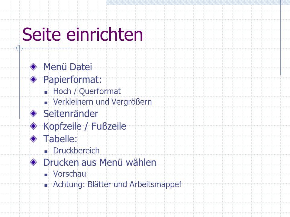 Seite einrichten Menü Datei Papierformat: Seitenränder