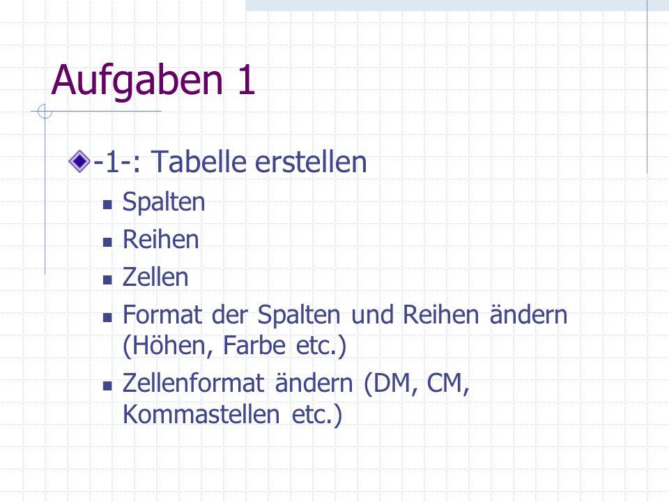 Aufgaben 1 -1-: Tabelle erstellen Spalten Reihen Zellen