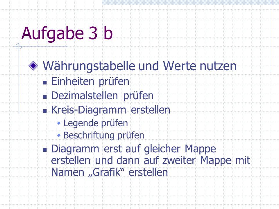 Aufgabe 3 b Währungstabelle und Werte nutzen Einheiten prüfen