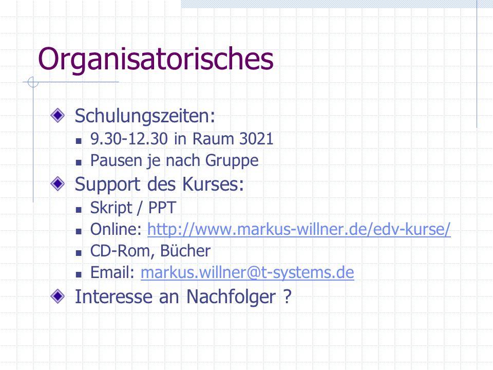 Organisatorisches Schulungszeiten: Support des Kurses: