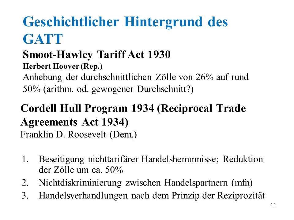 Geschichtlicher Hintergrund des GATT Smoot-Hawley Tariff Act 1930 Herbert Hoover (Rep.) Anhebung der durchschnittlichen Zölle von 26% auf rund 50% (arithm. od. gewogener Durchschnitt )