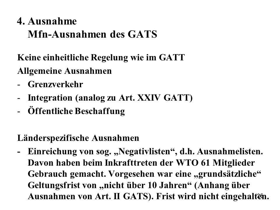 4. Ausnahme Mfn-Ausnahmen des GATS