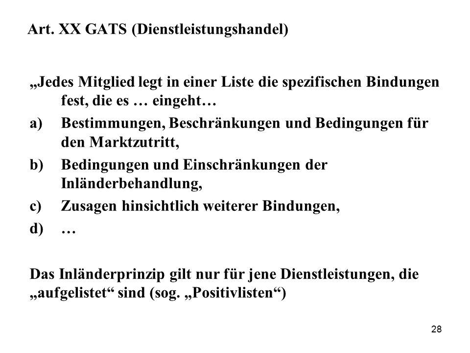 Art. XX GATS (Dienstleistungshandel)