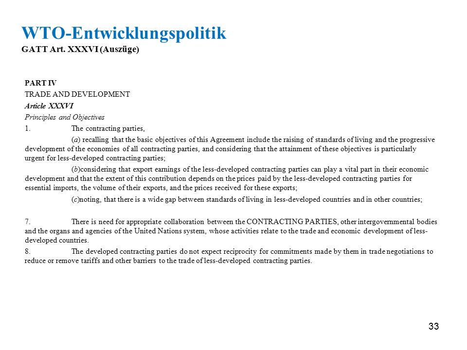 WTO-Entwicklungspolitik GATT Art. XXXVI (Auszüge)