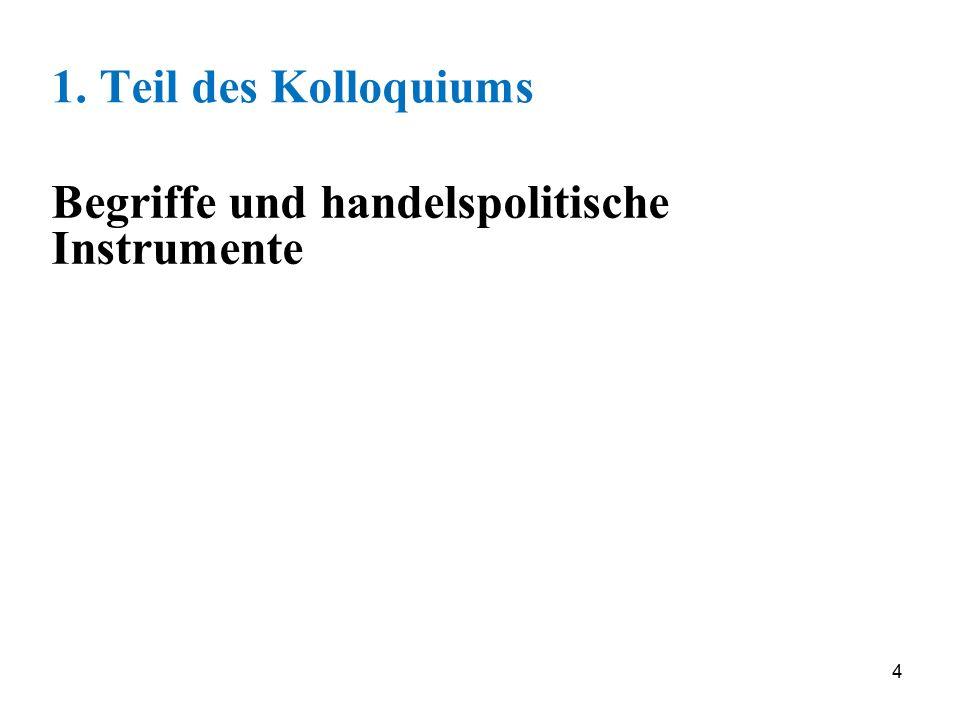 1. Teil des Kolloquiums Begriffe und handelspolitische Instrumente