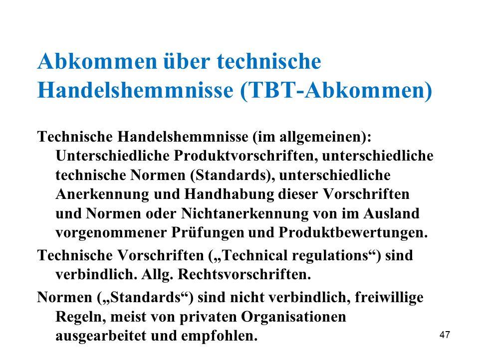 Abkommen über technische Handelshemmnisse (TBT-Abkommen)