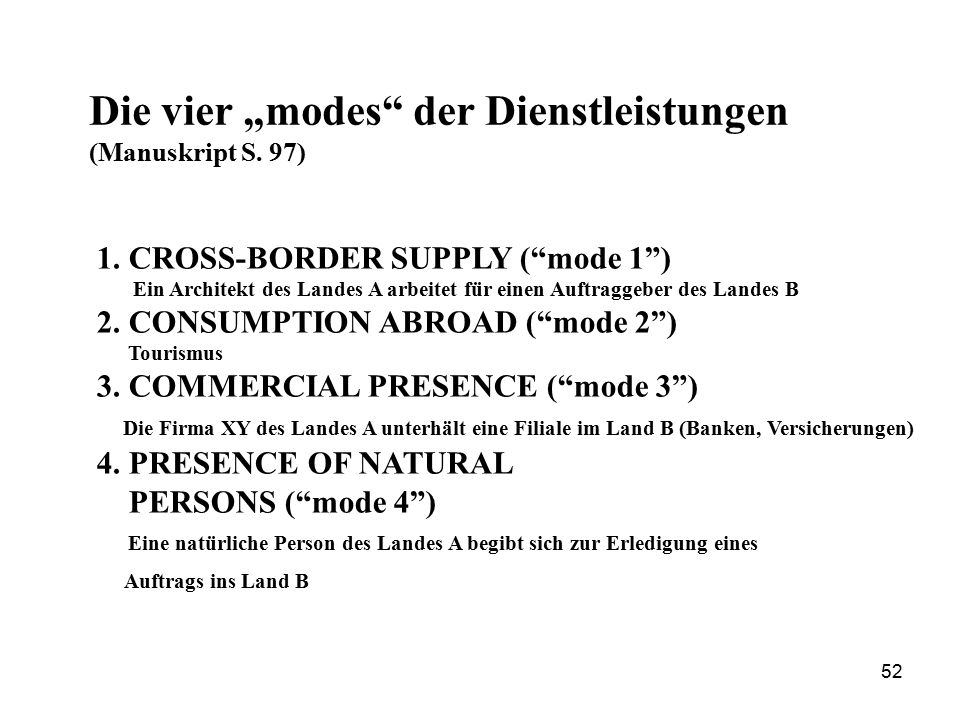 """Die vier """"modes der Dienstleistungen (Manuskript S. 97)"""