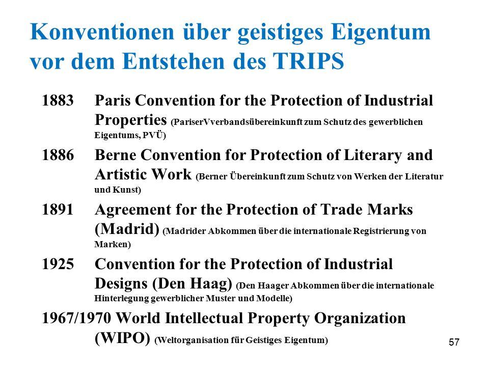 Konventionen über geistiges Eigentum vor dem Entstehen des TRIPS