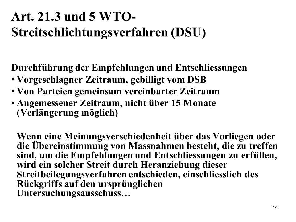 Art. 21.3 und 5 WTO-Streitschlichtungsverfahren (DSU)