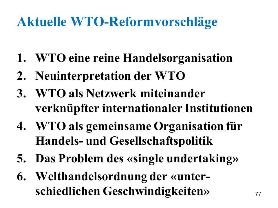 Aktuelle WTO-Reformvorschläge