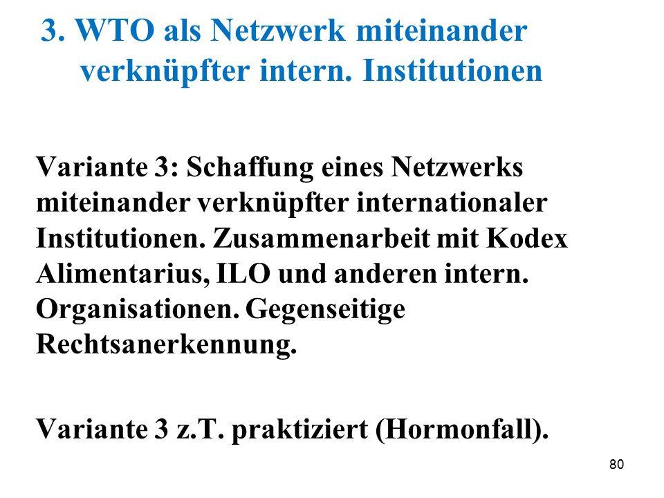 3. WTO als Netzwerk miteinander verknüpfter intern. Institutionen