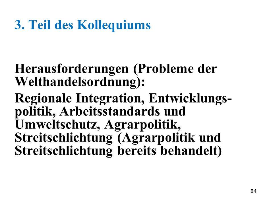 3. Teil des Kollequiums Herausforderungen (Probleme der Welthandelsordnung):