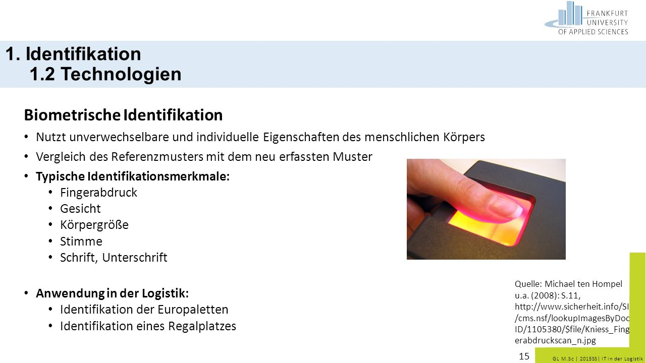 1. Identifikation 1.2 Technologien