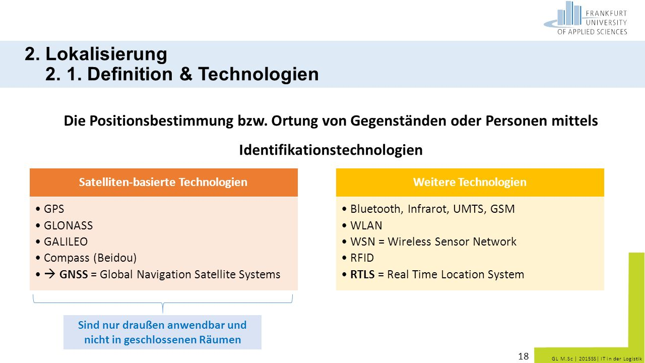 2. Lokalisierung 2. 1. Definition & Technologien