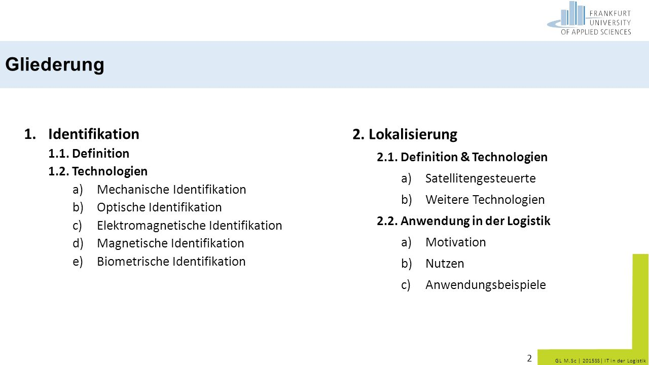 Gliederung Identifikation 2. Lokalisierung 1.1. Definition