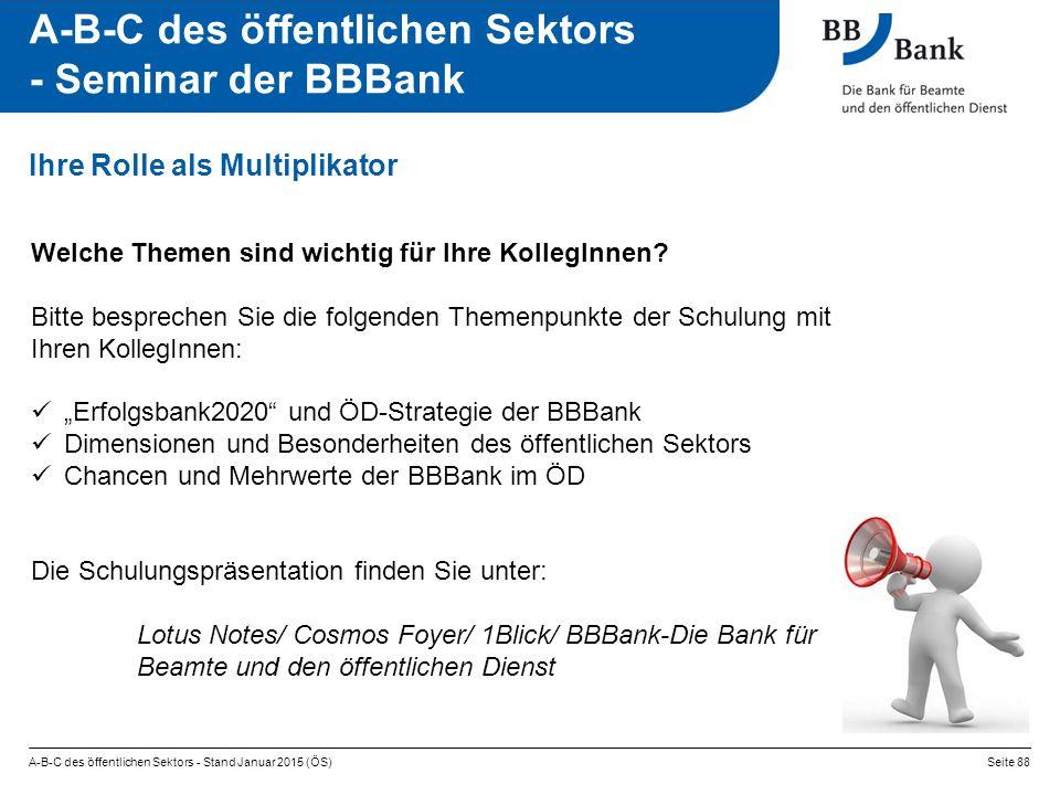 A-B-C des öffentlichen Sektors - Seminar der BBBank