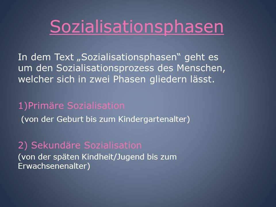 Sozialisationsphasen