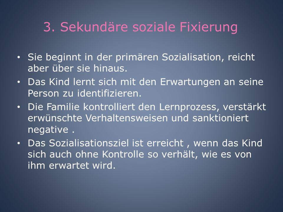 3. Sekundäre soziale Fixierung