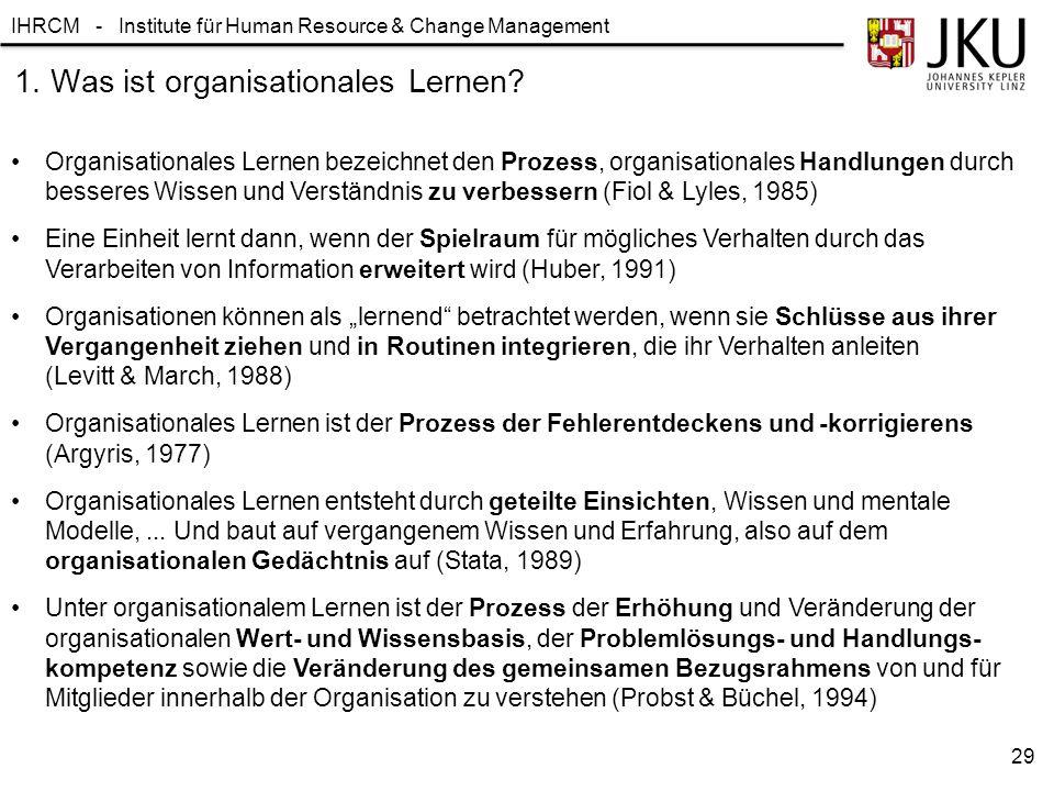 1. Was ist organisationales Lernen
