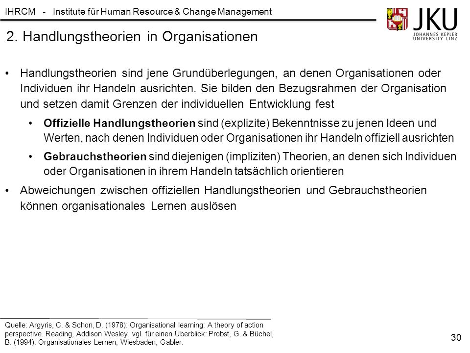 2. Handlungstheorien in Organisationen