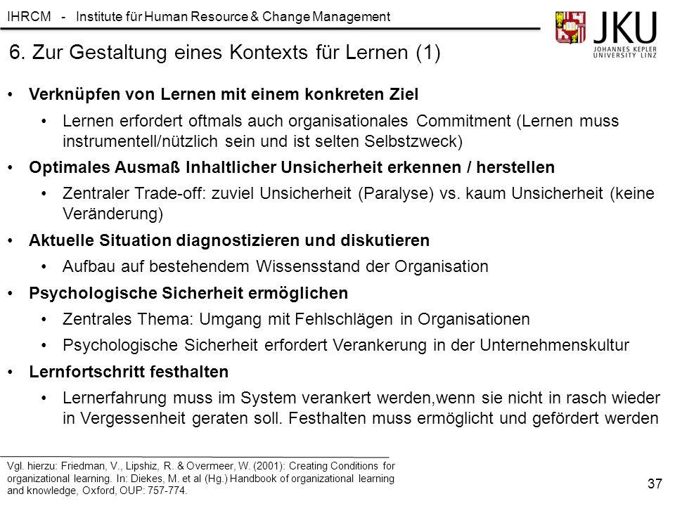 6. Zur Gestaltung eines Kontexts für Lernen (1)