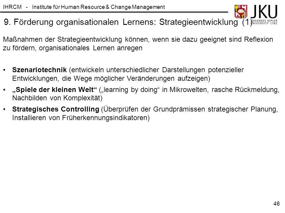 9. Förderung organisationalen Lernens: Strategieentwicklung (1)