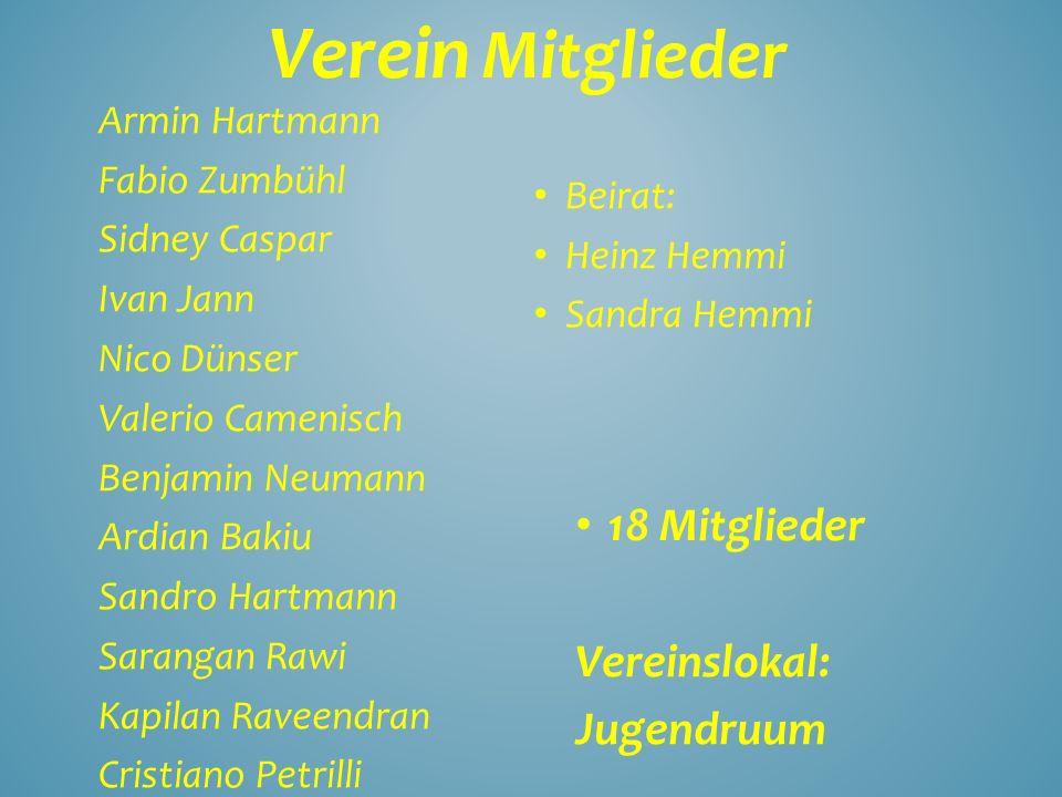 Verein Mitglieder 18 Mitglieder Vereinslokal: Jugendruum