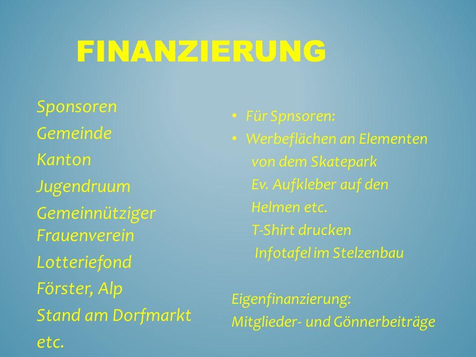 Finanzierung Sponsoren Gemeinde Kanton Jugendruum